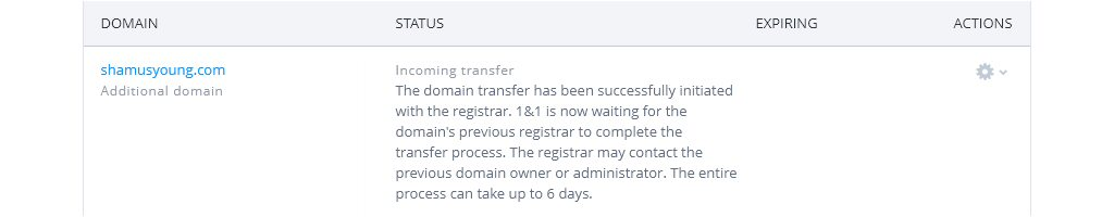 Right under that big paragraph of blame-shifting there's supposed to be a button to configure the domain so it can work. But that button doesn't appear until the transfer is over, even though the nameservers were ready to go.