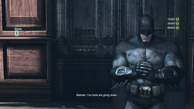 If there's one gripe I have with the challenge rooms, it's that there's too much time between attempts. To retry a challenge you get a loading screen(!?), then an intro screen, then a shot of Batman brooding and repeating a line you've heard a hundred times already, and THEN the fight starts. I'd like this SO much better with a Hotline Miami style instant reset.