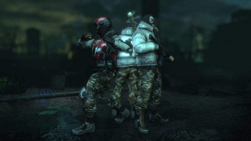 Left-to-right: A mook in body armor, a mook with a melee weapon that increases his attack range, and a naughty bastard with a gun.