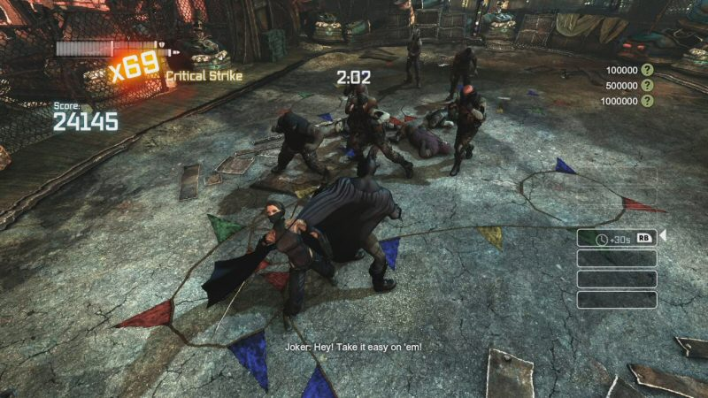 To the left of Batman is one of the ninja foes. They're not really a danger to Batman's LIFE (not much is) but they're incredibly dangerous to your combo meter because they're the only foe in the game that can evade your attack, and they sometimes counter-attack. It's easy to get over-zealous with the attack button and ruin the combo.
