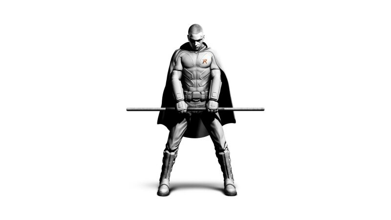 Some concept art of Arkham City's Robin. In the game, his hood is up so you can't tell that his head is shaved.