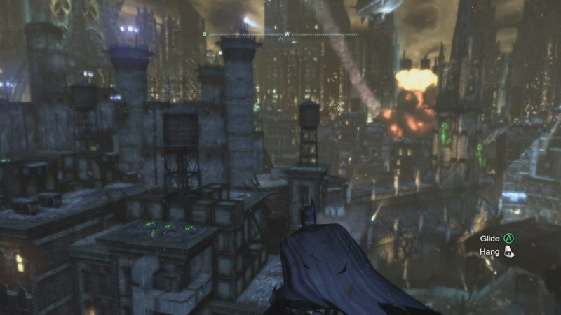 There have been a LOT of explosions in Arkham City tonight. Joker blew up the church loft. Penguin blew up the bridge, and then he blew up the entire floor of the Iceberg Lounge. (It got better.) Harley blew up a wall to rob the GCPD safe. Joker's goons blew up Vicky Vale's helicopter. Then the Tyger helicopters blew up a bunch of random crap. Later Wonder Tower will explode. And that's not counting all the small-scale demolitions Batman performs using his explosive gel.