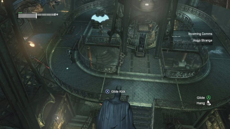 It's easy for us to see Batman, but in the fiction of the game he's supposedly hiding in the dark and foes can't normally see him up here.