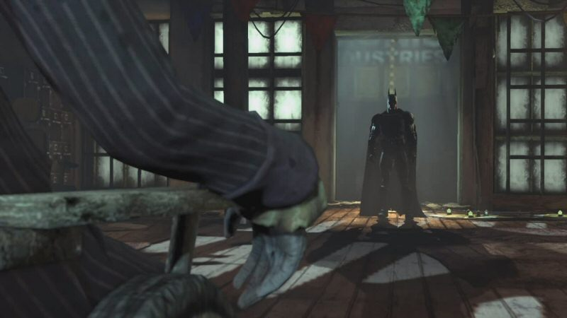 I gave Arkham Origins crap for having a lot of out-of-scale assets, but it looks like the problem has always been part of the series. That door is WAY out of proportion in relation to Batman. Same goes for the floorboards. Taken together, Batman looks to be about five feet tall. Maybe four and a half without the pointy ears.