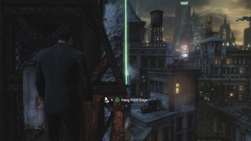 While he was climbing to the top of the building to obtain the Batsuit, Bruce Wayne was also talking to Alfred and making his goals clear to the audience. At the same time, the game was giving us the initial exposure to the basic movement controls. Also, it gave a really cool view of the city. See developers? You don`t need to lock us in linear corridors to do your tutorials!