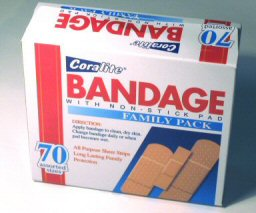 A box of off-brand generic band-aids.