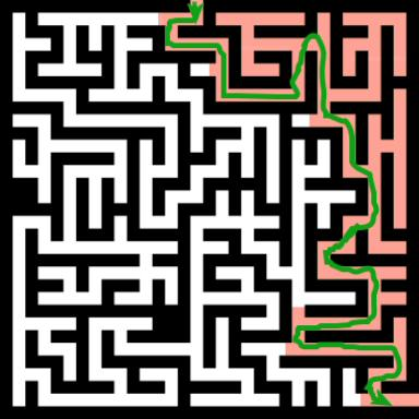 """Green: Optimal route.  Red: The area you would cover if you were to use the """"stick to the right or left wall"""" logic of navigation.  Woefully inadequate by today's standards."""