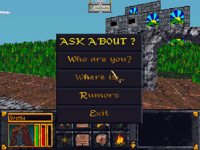 This is the conversation menu. 'Rumor' usually leads to sidequests along the lines of 'deliver a package' or...uh, that's actually pretty much it.