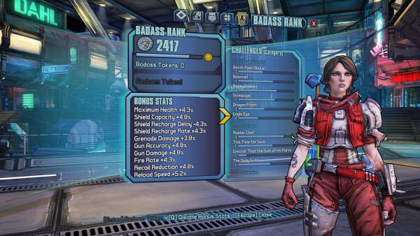 "This is Athena from Pre-Sequel. (Best character.) The bonus stats you see on the left apply to all the characters I create. The game lets you disable these if you want, presumably to allow serious players to set up ""fair"" duels."