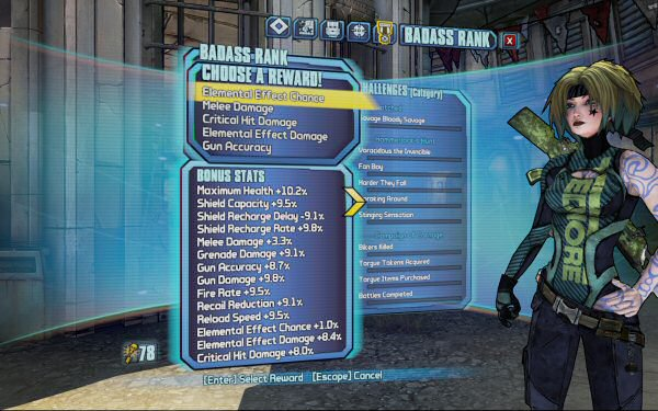 Maya from Borderlands 2. Here you can see I get to choose from five possible bonuses: Elemental Effect CHANCE, Melee Damage, Critical Hit Damage, Elemental Effect Damage, and Gun Accuracy. (These probably yield a tenth of a percent bonus.) Below that you can see the sum of all the bonuses I've unlocked so far.