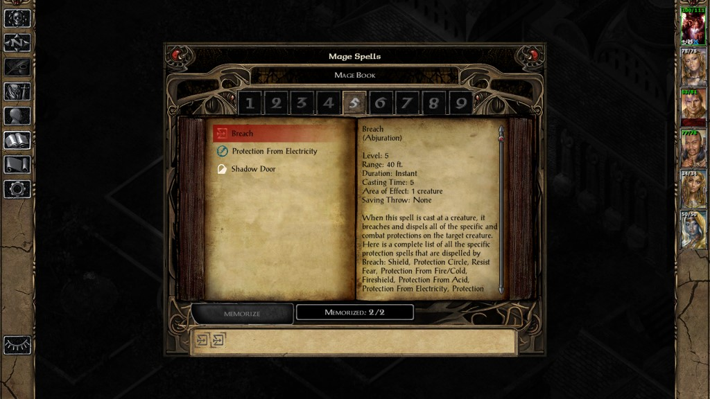 Breach. This spell removes most of the protections from casters in the early-mid game. I recommend anyone playing BG2 to get it as soon as possible - certain fights are nearly unbeatable without it.