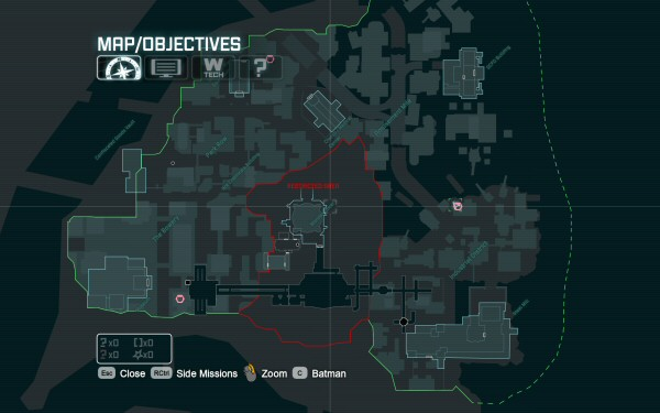 This is the gameworld of Arkham City. The red restricted zone blocks line of sight between the two halves. (The dark tunnels that go through the restricted zone are actually subway tunnels.)