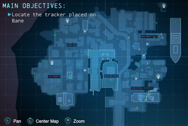 This is the map for Arkham Origins. It covers the same space as Arkham City, only now we don't have handy prison walls all over the place to limit our view. Note also that this is only half the city. A bunch of new stuff is available to the south. Sheldon Park in the center is right where the Restricted Zone was in the previous game.