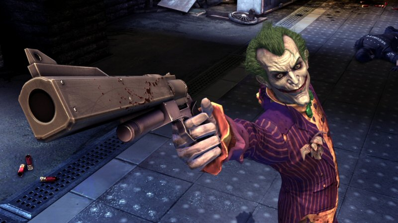Is Joker's handgun ejecting SHOTGUN SHELLS? Man, this guy really IS crazy!