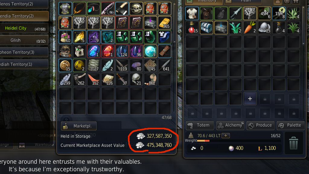 In game I'm worth almost half a billion in silver, and yet I can't use it to buy anything I want or need.