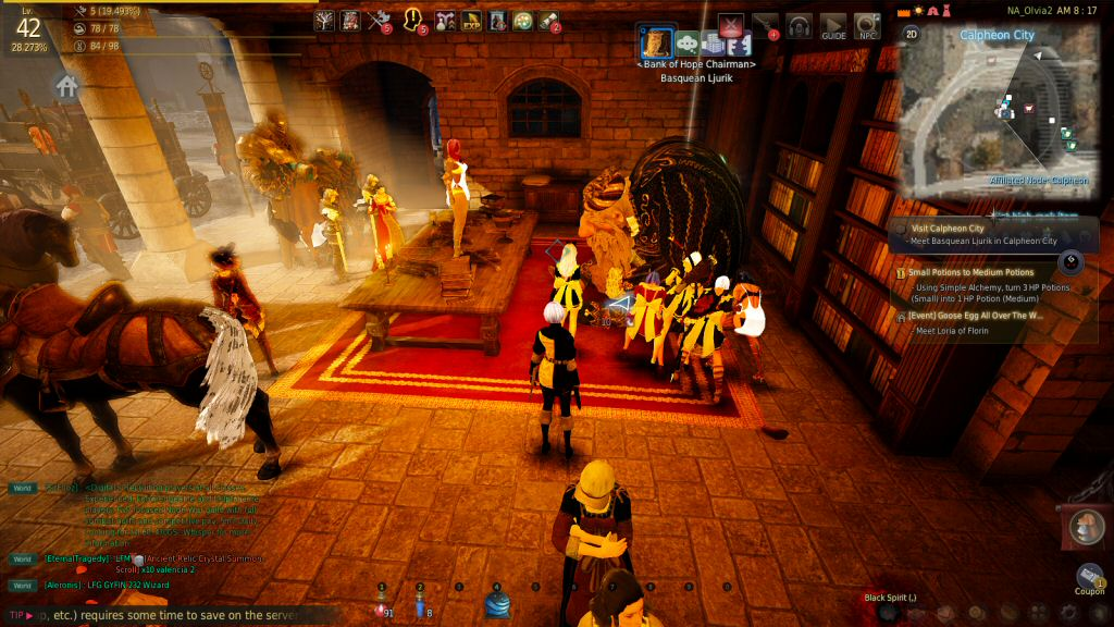Here are half a dozen female characters in sexy maid outfits and lingerie, all chopping wood beside the bank manager. I get the sense that the Bank of Hope is the Goldshire of Black Desert Online.