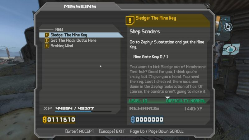 "I've just now clicked on Shep for the first time and I'm reading his quests. Claptrap has popped up in the background to say, ""HELLO! DID YOU KNOW SHEP SANDERS HAS JOBS FOR YOU?"" If I don't accept all of these quests then he will harass me about it forever."