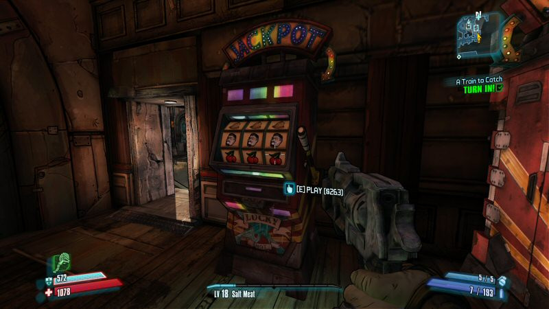 In the world of Borderlands 2 the REAL currency that slot machines consume is not money, but time. Money is plentiful but the slots are boring and you probably have more fun things you could be doing.