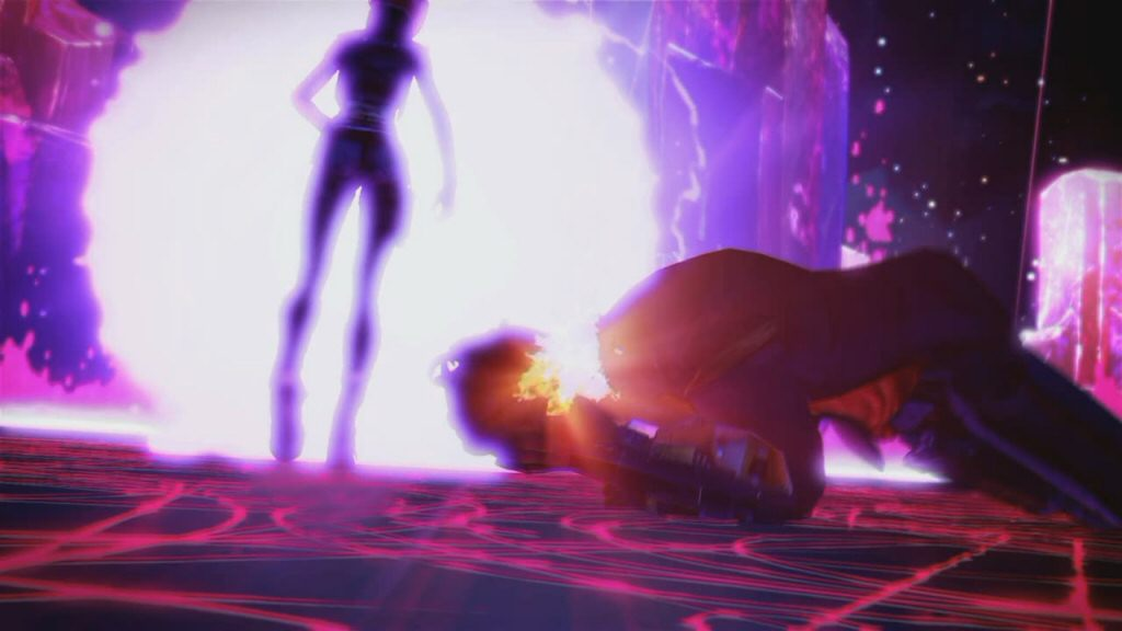Jack is writhing on the ground with his face on fire, and Lilith casually teleports away without finishing the job. (While the player characters stand by and do nothing.)
