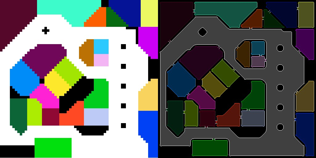 Left: The hand-drawn 64x64 image that guides the program in building the map. Right: The resulting level layout.