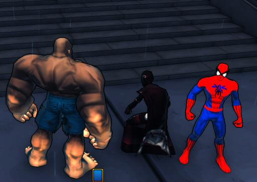 """I think he was actually named """"Spider Man"""", which means he's probably been punished in whatever way they punish you for using the game to flaunt IP laws. I'm the one on the left.  """"Doc Feral"""".  A scientist turned into a big musclebound ape-thing. Not exactly trailblazing work on my part, either."""