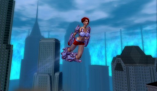 Aim High: You can't fly until level 14.  Lots of the characters run around in revealing and not particularly protective suits. But this is one game where this sort of thing makes perfect sense, because that's what comic book heroes are like, and this game isn't trying to be taken seriously. It's metal suits, platform boots, spandex tights, and wonderful ridiculous fun.
