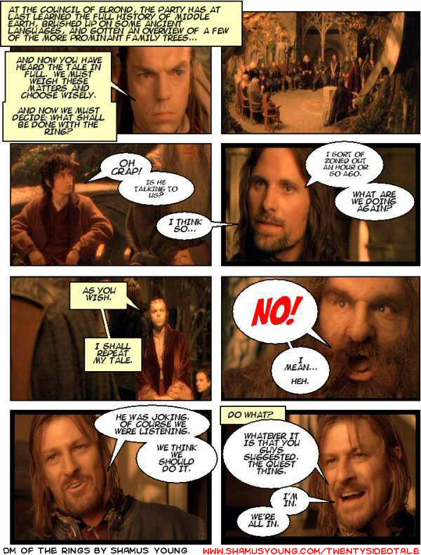 Lord of the Rings, Player Apathy, Rivendell, Council of Elrond, Boromir, Aragorn, Talk talk talk, Backstory, History