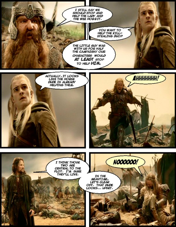 Gimli still wants to help Merry and Eowyn.