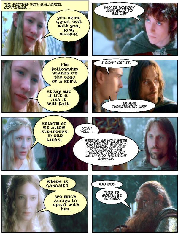 Lothlorien, Galadriel, Frodo, Gimli, Aragorn.
