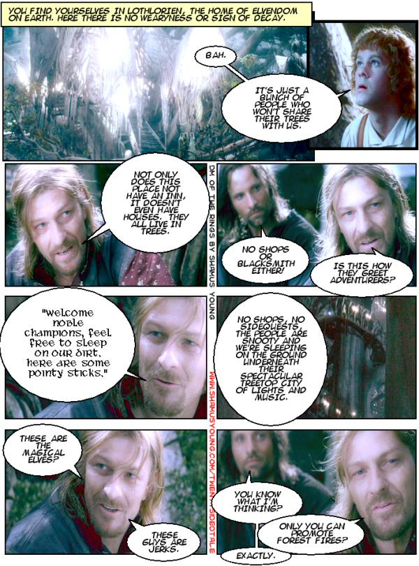 Lothlorien, No Shops, Boromir, Aragorn, Spectacular treetop city.