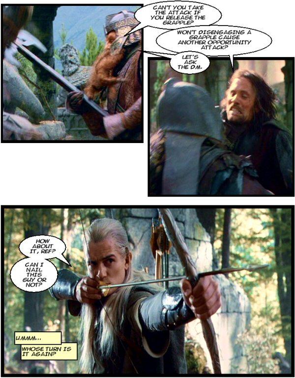Aragorn, Legolas, Gimli, Lots of Orcs, Grapple Rules, Attack of Opportunity