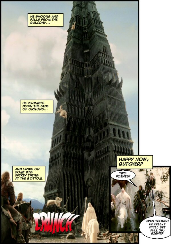 Saruman falls to his death.