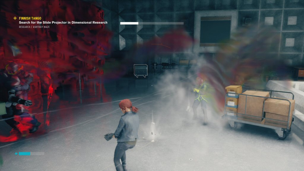 Yuck. I'm not glad to see the Alan Wake BLURRY COMBAT filter again. Given how important evasion is to survival, this design choice is totally obnoxious. When I get hit, it's not because I messed up the timing, it's because I can't see what the heck is going on.