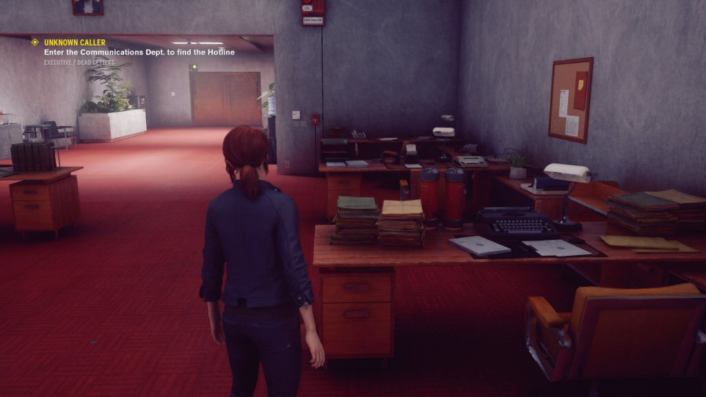 Look at all this detail. Nothing looks like copy/paste. Different desks with different clutter and different KINDS of clutter make the space feel so real. Also, all of this stuff can blasted around the room during combat, which is wonderful fun.