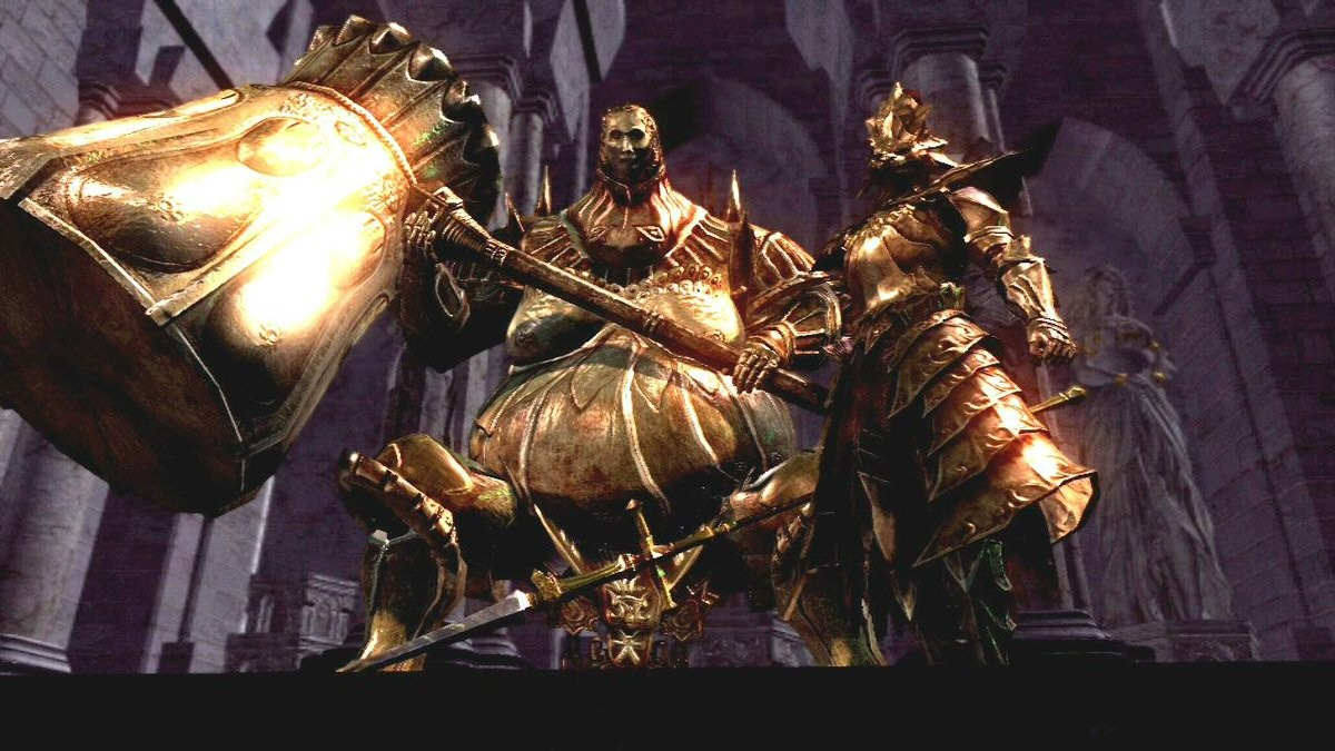 Ornstein and Smough. I don't actually know which is which. I get stressed out just thinking about the hitbox on that hammer.