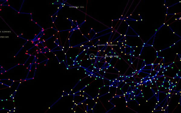 Here is a tiny slice of the galaxy map. There are a LOT of star systems. The bright ones are the part of the gameworld where police patrol and enforce some semblance of justice. The dark red ones are nullsec – the wild west where anything goes. That's where the good stuff is, and that's where player corporations try to establish a claim and build bases.