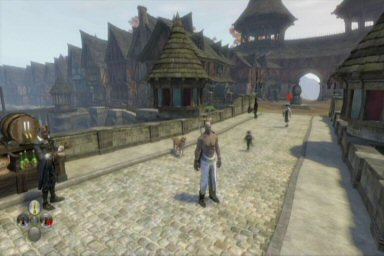 The art style falls near the World of Warcraft end of the spectrum, with lots of exaggerated, chunky buildings.