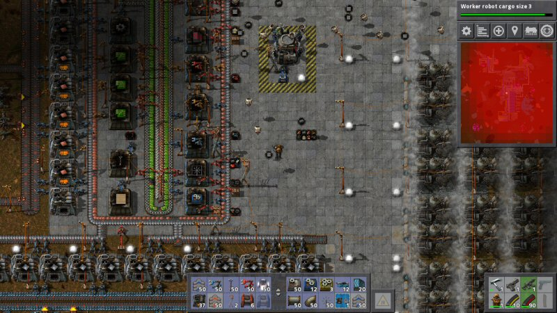 The little dark circles are part of my swarm of logistics robots that carry items around. They`re good for transporting rare items, or things that are produced slowly. It beats adding another conveyor to the spaghetti network.
