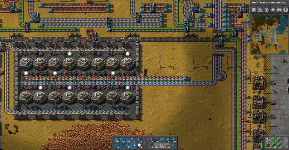 Conveyor belts carry all the different SCIENCE(!)  bottles to the dome-shaped labs, where they are consumed.