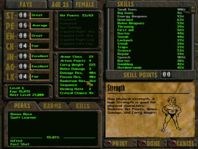 The Fallout character screen.