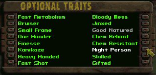 This is the list of optional traits. You can pick any two of these at the start of the game.  Every three levels, you'll be offered a list of perks to choose from. I've been through this game a lot of times, and I've still never seen them all.