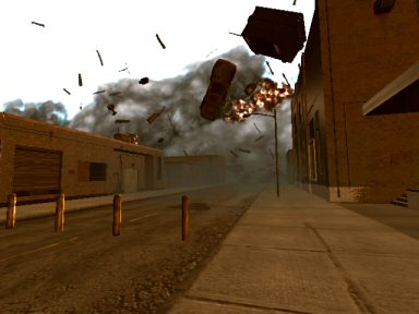 A screenshot can't really do this justice.  That cloud is moving fast and tearing the city apart as it comes.  Seeing this wall advance on you is a thrilling moment.