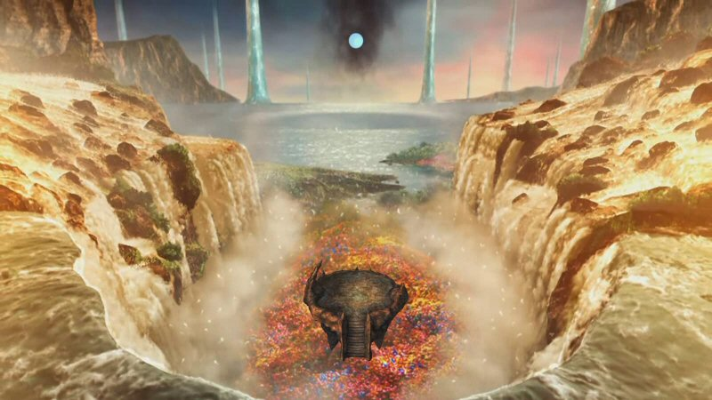 The afterlife is a waterfall flowing into an ocean with columns of water rising out of it. And also some flowers.