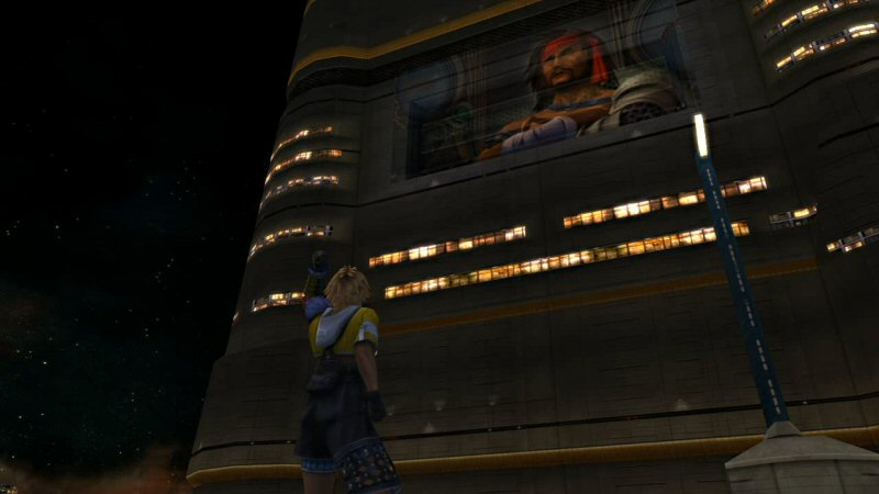 Not only does Tidus live in the shadow of his father, he has to walk below his father's looming billboard on his way to work.