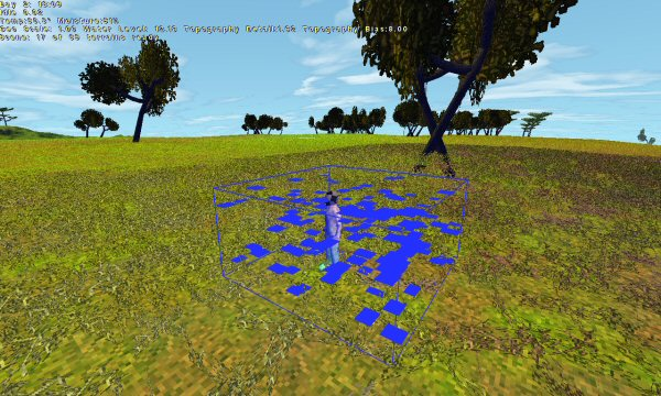 First steps:  Here I've got an emitter (the blue wireframe box) creating particles. (The blue rectangles.) These particles appear, persist for a second, then vanish.