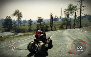 """These red flags mark roads as being part of a particular race.  Sometimes I encounter them in free ride mode and realize, """"Gosh, this is someplace I'll end up if I ever get around to playing the racing part of the game."""