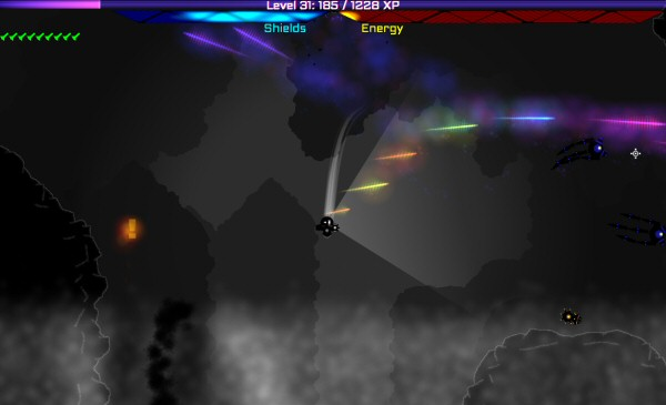 Here's an example of the player running out of energy. The rainbow coloring is due to the way it's stepping down through the power levels.