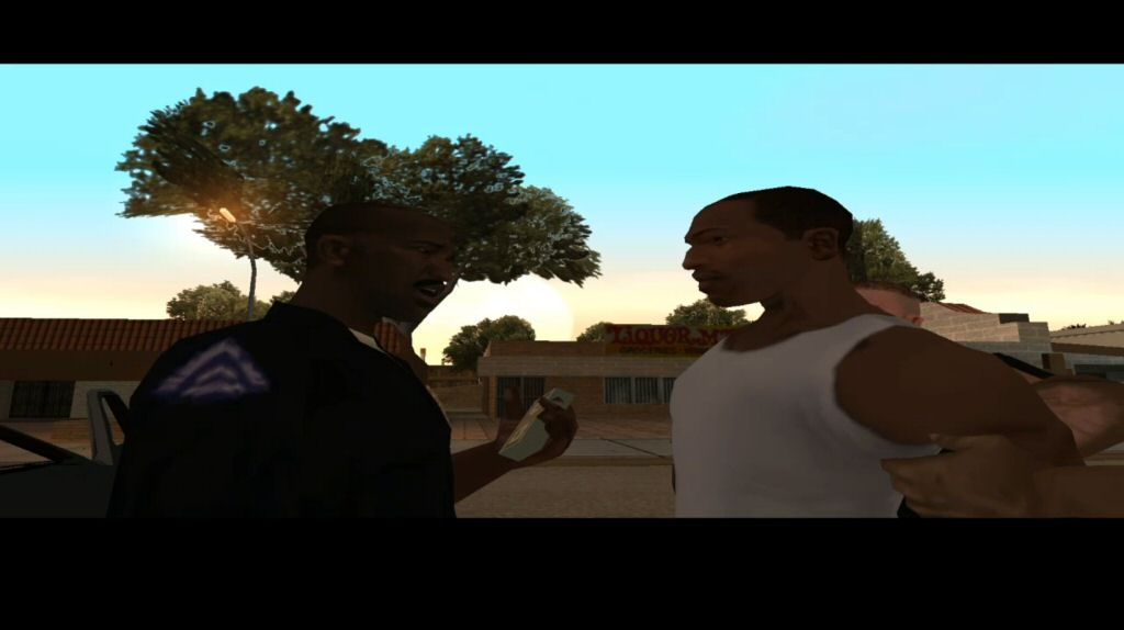 CJ has been in town for five minutes and already Officer Tenpenny has stolen his cash and framed him for the murder of a police officer.