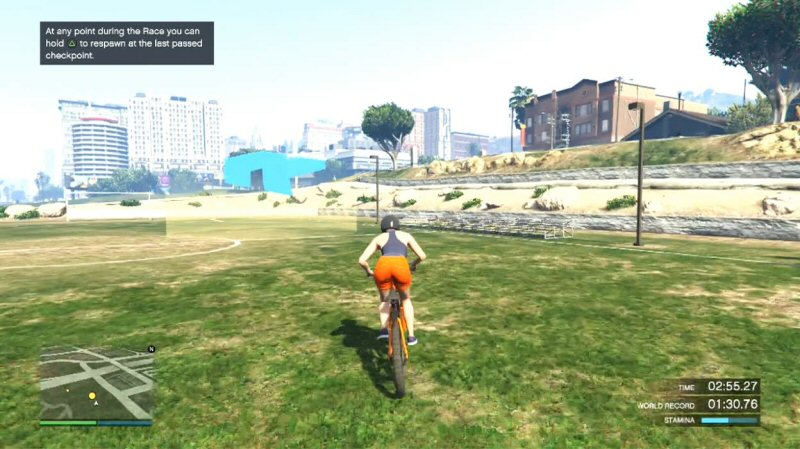 """I want to work on my stamina. If I play in the open world, people will just murder me. So the most """"sensible"""" solution is to do a bike race. Alone. And then ignore the race and just ride around."""