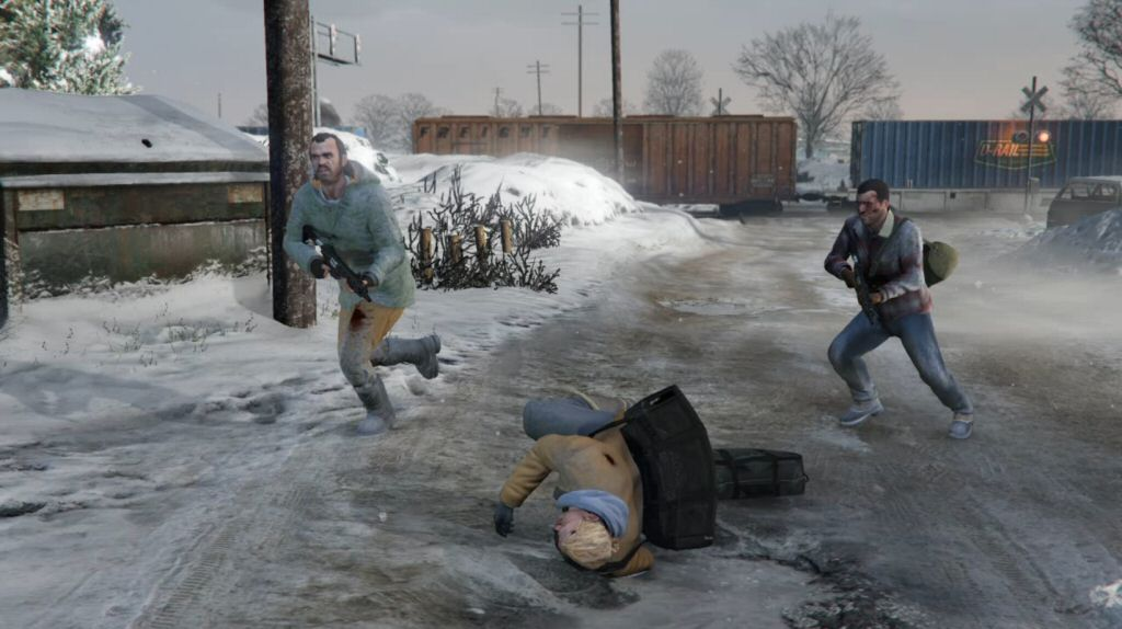 Half the crew is dead, our getaway car is destroyed, we're on foot in the snow, and the police are closing in. Yeah, this heist is going just great.